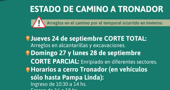 Cronograma de cortes totales y parciales por mejoras en el camino a Cerro Tronador