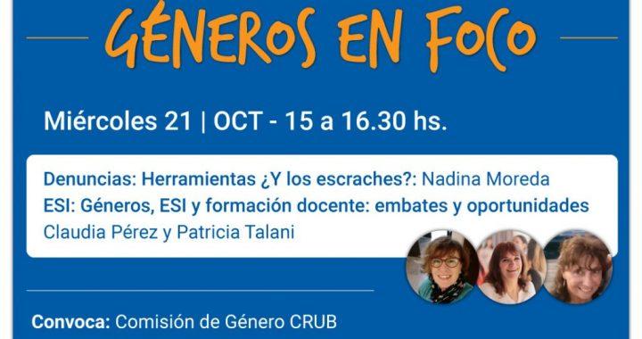UNCo: Charlas Géneros en Foco CRUB