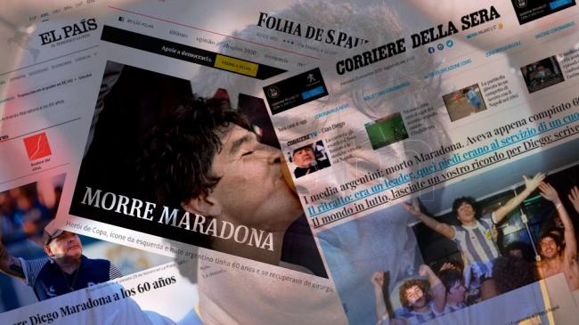 La muerte de Maradona llegó a la tapa de todos los medios digitales del mundo
